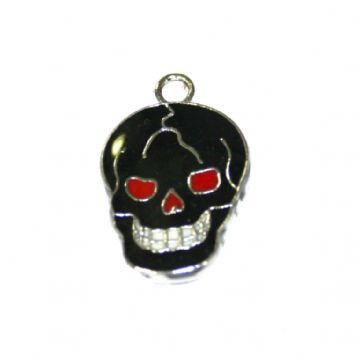 1pce x 16*12mm Rhodium plated black skull enamel charms - S.D03 - CHE1193